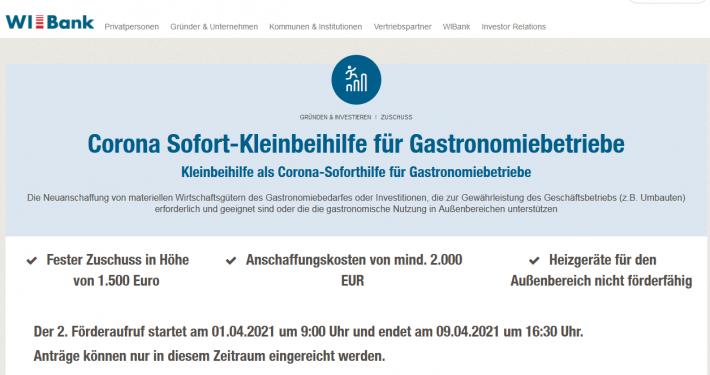 Corona Sofort-Kleinbeihilfe für Gastronomiebetriebe
